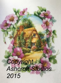 English cottage with wild rose frame