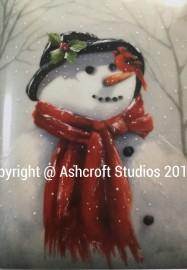 Snowman with cardinal