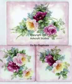 Roses and Forget Me Nots 3 Tiles