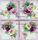 Set of 4 Roses and Forget Me Not Tiles