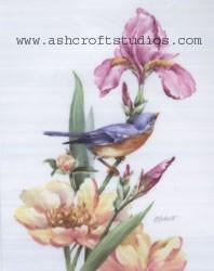 Blue Bird, Iris and Peonies