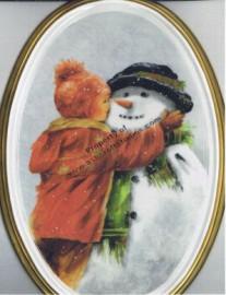 Child Hugging a Snowman